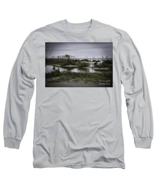 Cloudy Beach Day Long Sleeve T-Shirt by Judy Wolinsky
