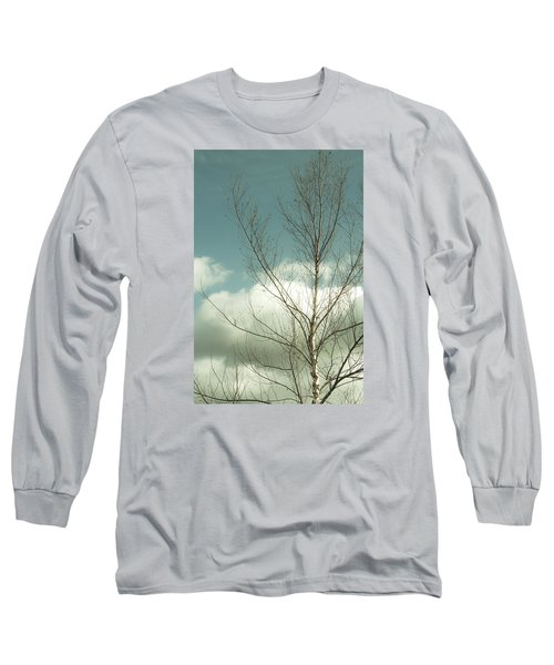 Long Sleeve T-Shirt featuring the photograph Cloudy Blue Sky Through Tree Top No 2 by Ben and Raisa Gertsberg