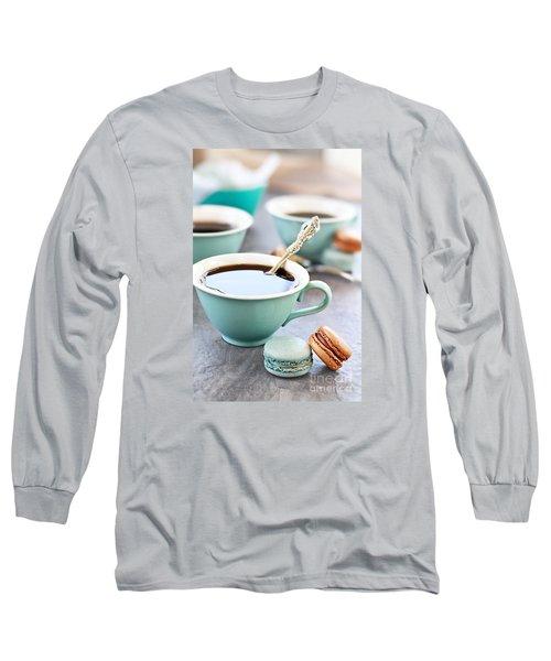 Coffee And Macarons Long Sleeve T-Shirt by Stephanie Frey