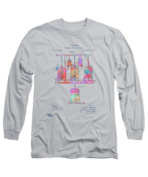 Colorful 1873 Brewing Beer And Ale Patent Artwork Long Sleeve T-Shirt