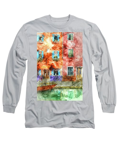 Colorful Houses In Burano Island, Venice Long Sleeve T-Shirt