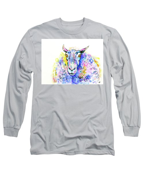 Long Sleeve T-Shirt featuring the painting Colorful Sheep by Zaira Dzhaubaeva