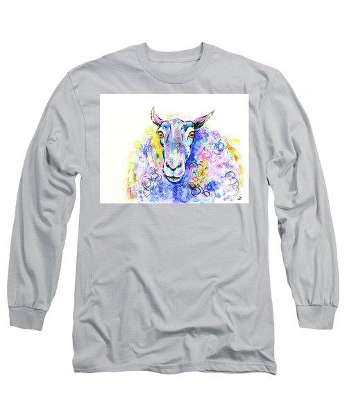 Long Sleeve T-Shirt featuring the painting Colorful Sheep by Zaira Dzhaubaeva