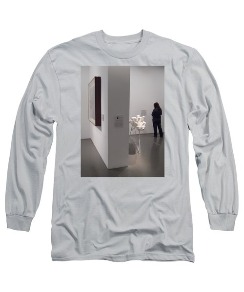 Composition In White, Black And Gray, Long Sleeve T-Shirt by Esther Newman-Cohen