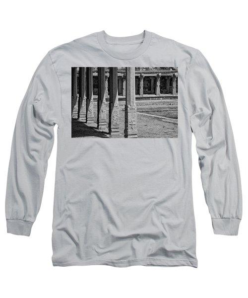 Long Sleeve T-Shirt featuring the photograph Composition Of Pillars, Hampi, 2017 by Hitendra SINKAR