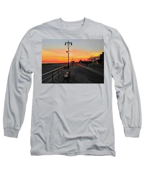 Coney Island Boardwalk Sunset Long Sleeve T-Shirt