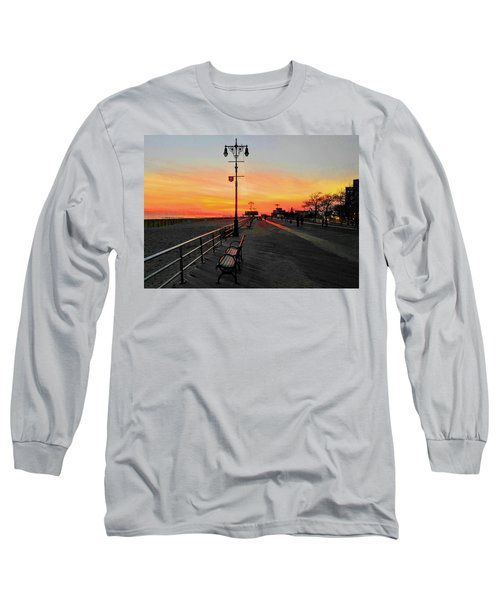 Coney Island Boardwalk Sunset Long Sleeve T-Shirt