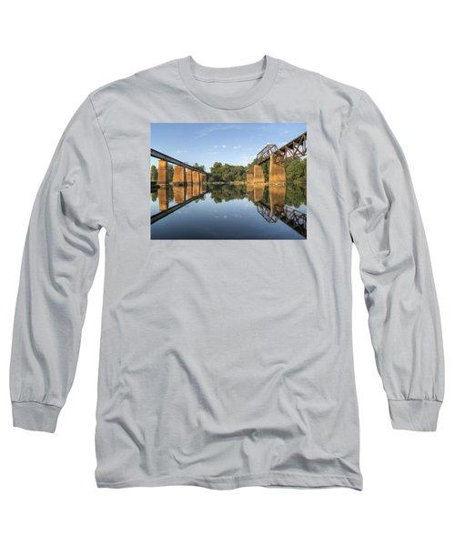 Congaree River Rr Trestles - 1 Long Sleeve T-Shirt by Charles Hite