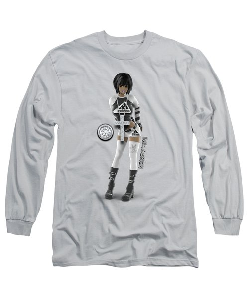 Cool 3d Girl In Black And White Long Sleeve T-Shirt