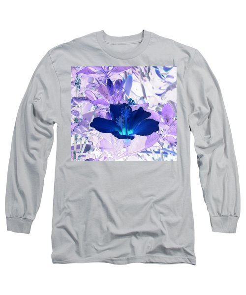 Cool Blue Hawaiian Hibiscus Long Sleeve T-Shirt