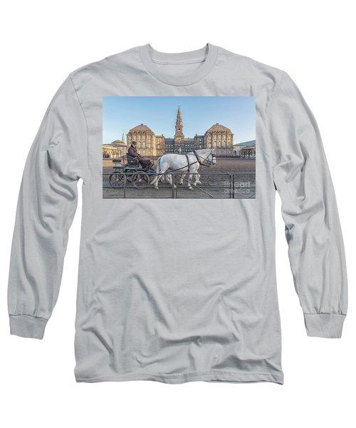 Long Sleeve T-Shirt featuring the photograph Copenhagen Christianborg Palace Horse And Cart by Antony McAulay