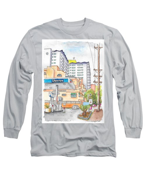 Corner La Cienega Blvd. And Hallway, Chevron Gas Station, West Hollywood, Ca Long Sleeve T-Shirt