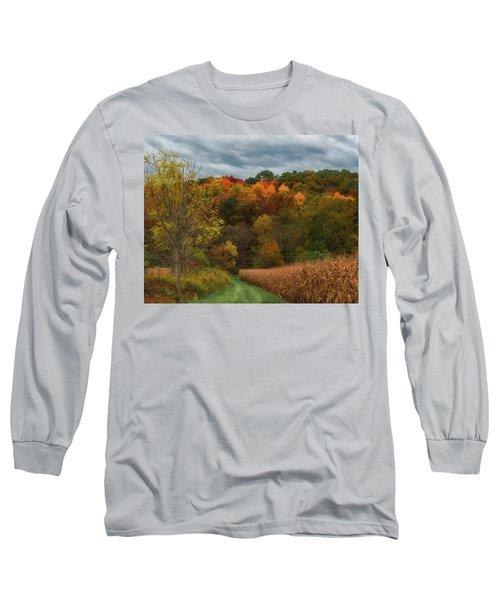 Cornfield In Fall  Long Sleeve T-Shirt