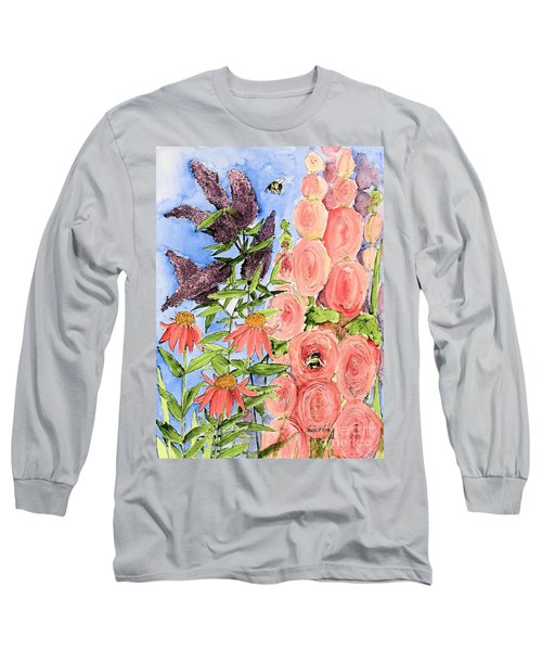 Cottage Garden Hollyhock Bees Blue Skie Long Sleeve T-Shirt by Laurie Rohner