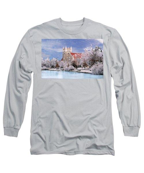 Long Sleeve T-Shirt featuring the photograph Country Club Christian Church by Steve Karol