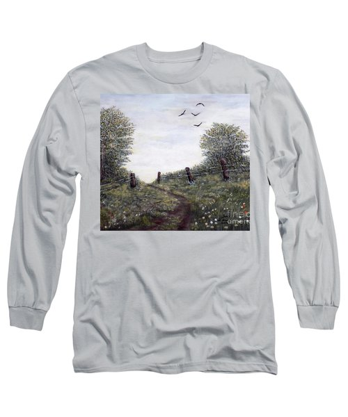 Long Sleeve T-Shirt featuring the painting Country Road by Judy Kirouac