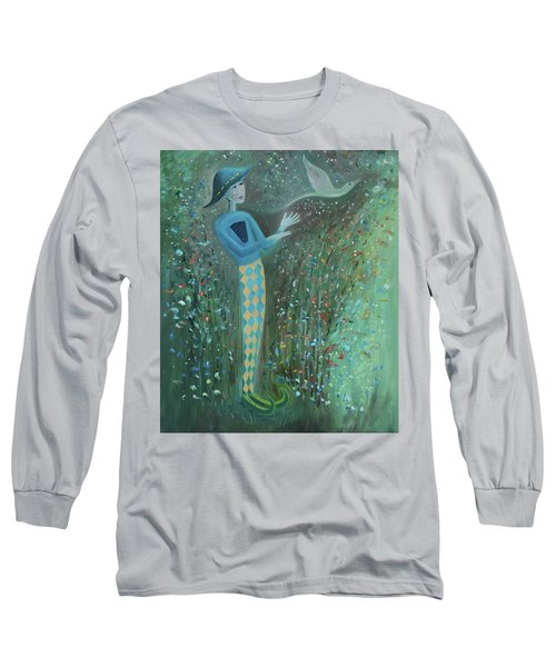 Long Sleeve T-Shirt featuring the painting Cousin Good Shoes Sentinel by Tone Aanderaa