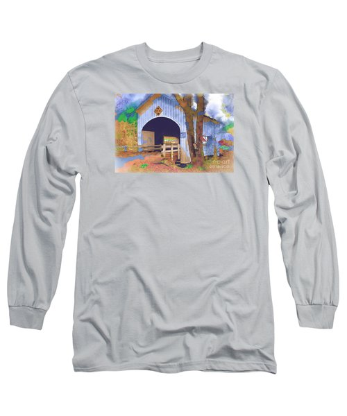 Covered Bridge In Watercolor Long Sleeve T-Shirt by Kirt Tisdale