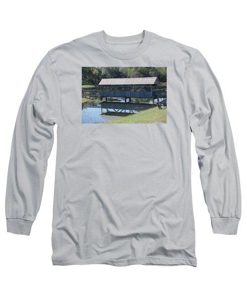 Covered Bridge Painting Long Sleeve T-Shirt by Debra     Vatalaro