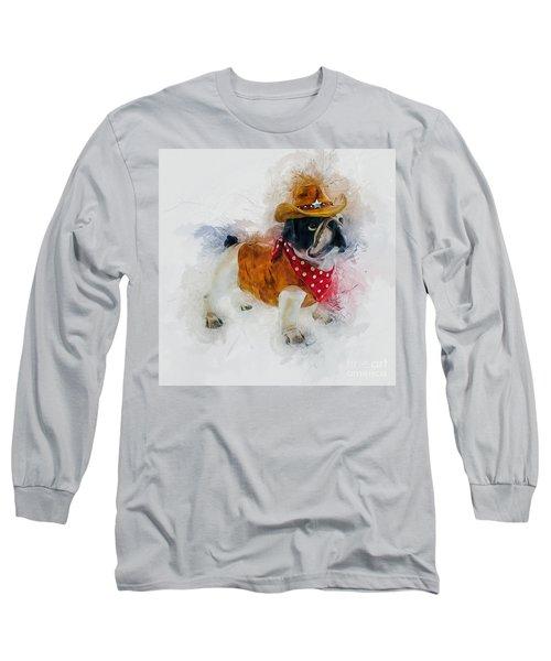 Cowboy Bulldog Long Sleeve T-Shirt