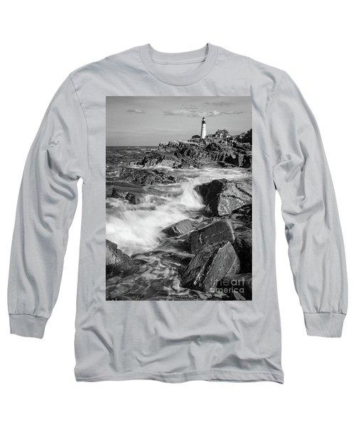 Long Sleeve T-Shirt featuring the photograph Crashing Waves, Portland Head Light, Cape Elizabeth, Maine  -5605 by John Bald