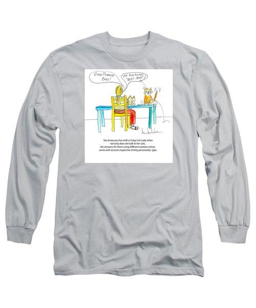 Crazy Cat Lady 0009 Long Sleeve T-Shirt by Lou Belcher