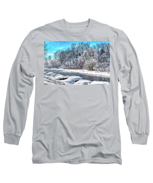 Long Sleeve T-Shirt featuring the digital art Credit River At Winter by Kai Saarto