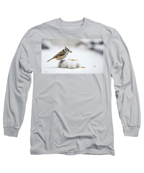 Crested Tit's Catch A Peanut Long Sleeve T-Shirt