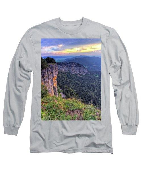 Creux-du-van Or Creux Du Van Rocky Cirque, Neuchatel Canton, Switzerland Long Sleeve T-Shirt by Elenarts - Elena Duvernay photo