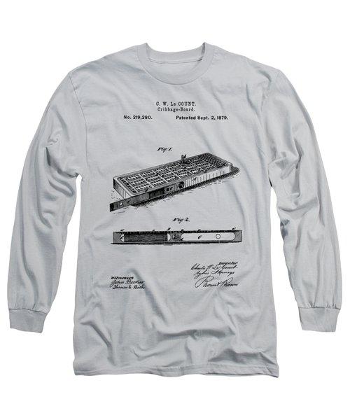 Cribbage Board 1879 Patent Art Transparent Long Sleeve T-Shirt