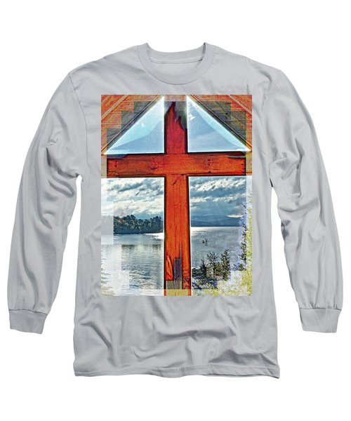 Cross Window Lake View  Long Sleeve T-Shirt
