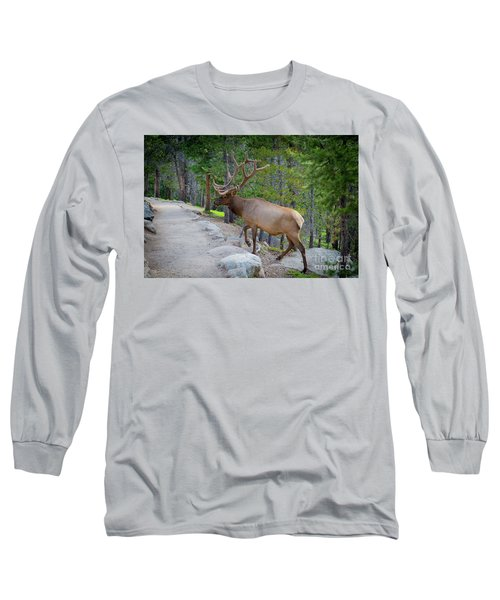 Crossing Paths With An Elk Long Sleeve T-Shirt