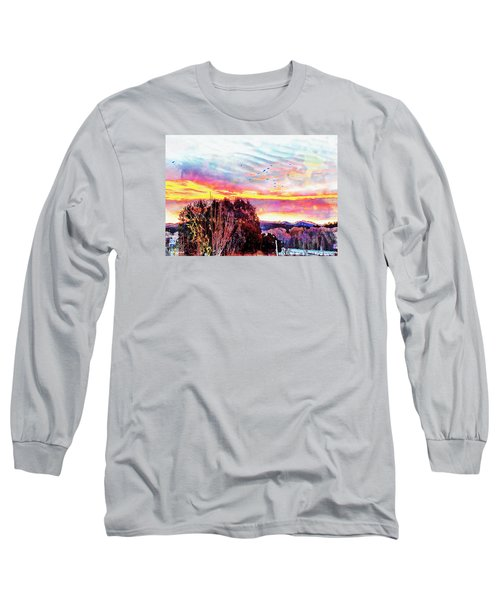 Long Sleeve T-Shirt featuring the photograph Crows Over Pre Dawn El Valle by Anastasia Savage Ealy