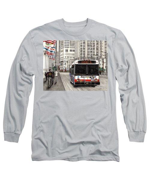 Cta Bus On Michigan Avenue Long Sleeve T-Shirt