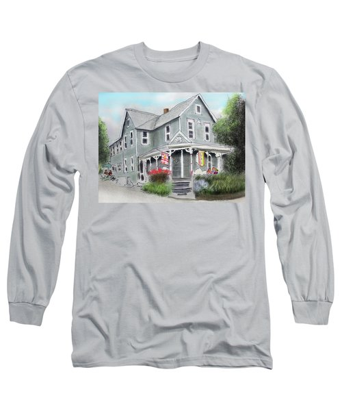 Long Sleeve T-Shirt featuring the drawing Cup A Joes Coffee Shop by Albert Puskaric