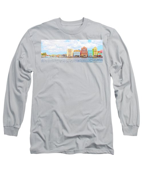 Long Sleeve T-Shirt featuring the photograph Curacao Awash by Allen Carroll