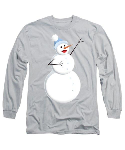 Cute Happy Snowman Long Sleeve T-Shirt