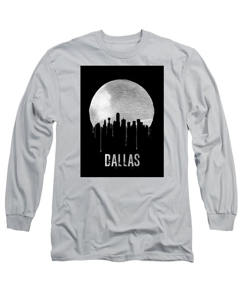 Dallas Skyline Black Long Sleeve T-Shirt by Naxart Studio