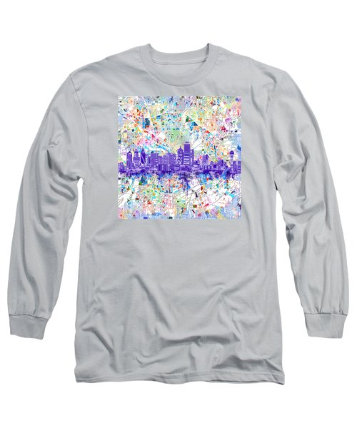 Dallas Skyline Map White 3 Long Sleeve T-Shirt