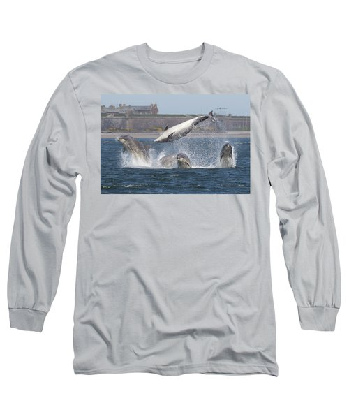 Long Sleeve T-Shirt featuring the photograph Dance Of The Dolphins by Karen Van Der Zijden