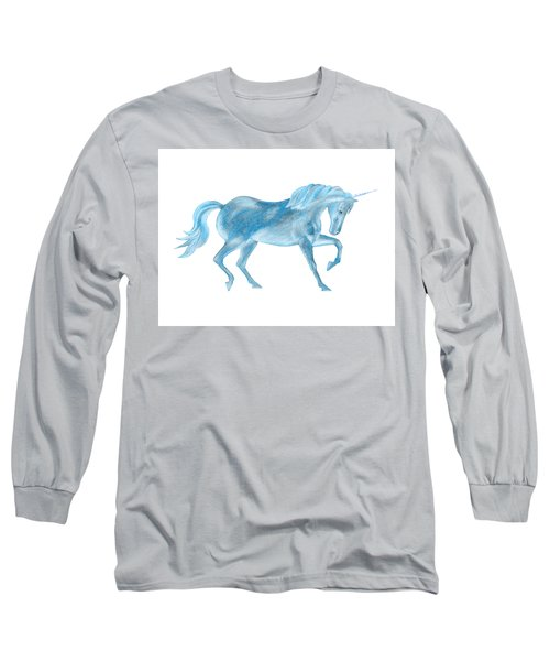 Long Sleeve T-Shirt featuring the mixed media Dancing Blue Unicorn by Elizabeth Lock