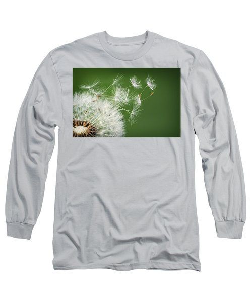 Long Sleeve T-Shirt featuring the photograph Dandelion Blowing by Bess Hamiti