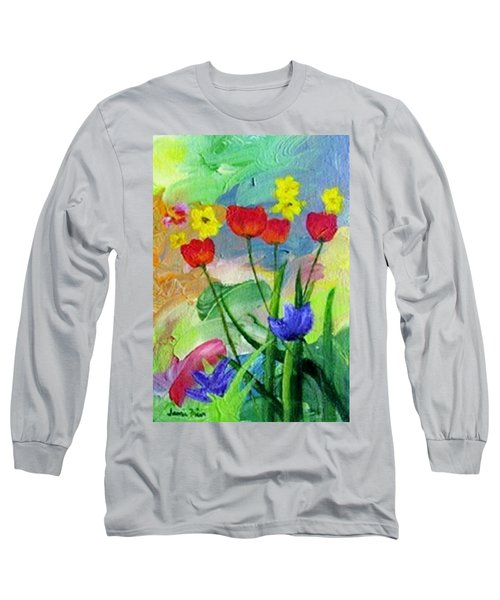 Long Sleeve T-Shirt featuring the painting Daria's Flowers by Jamie Frier