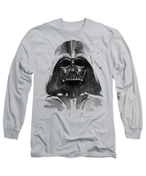 Darth Vader Watercolor Long Sleeve T-Shirt by Olga Shvartsur