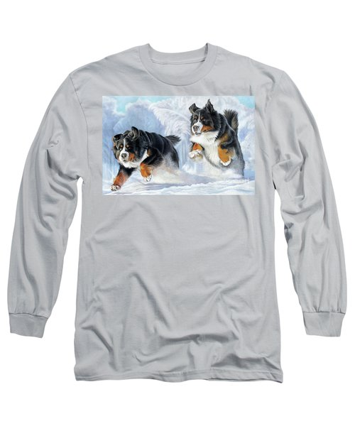 Long Sleeve T-Shirt featuring the painting Dashing Through The Snow by Donna Mulley