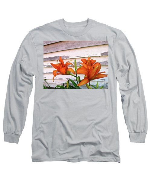 Long Sleeve T-Shirt featuring the photograph Day Lilies And Peeling Paint by Nancy Patterson