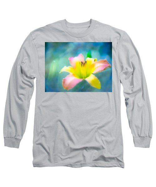 Daylily In Blue Long Sleeve T-Shirt