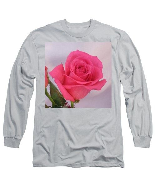 Single Deep Pink Rose Long Sleeve T-Shirt
