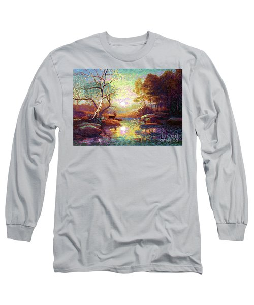 Long Sleeve T-Shirt featuring the painting Deer And Dancing Shadows by Jane Small