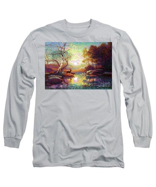 Deer And Dancing Shadows Long Sleeve T-Shirt